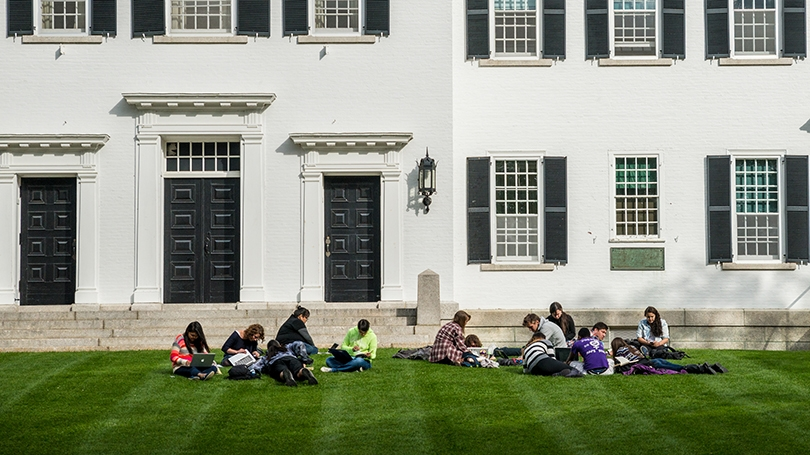 NAS class on the lawn in front of Dartmouth Hall